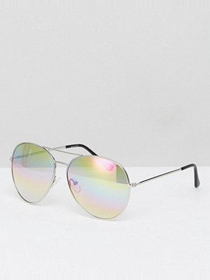 Solglasögon - ASOS Aviator Glasses In Silver Metal With Iridescent Clear Lens