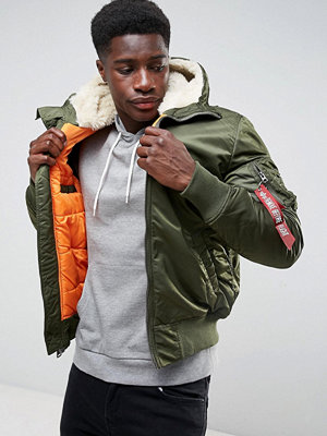 Bomberjackor - Alpha Industries MA-1 Hooded Insulated Bomber Jacket Faux Fur Lined Hood in Sage