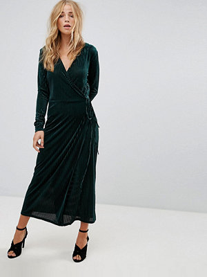 Vila Velvet Pleated Wrap Midi Dress