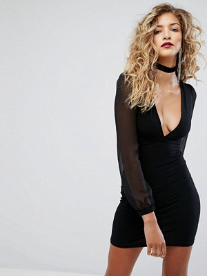 Motel Mini Dress With Sheer Puff Sleeves