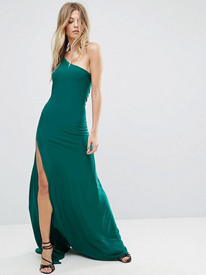 City Goddess One Shoulder Maxi Dress With Side Split - Emerald green (18)