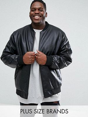 Duke PLUS Faux Leather Bomber Jacket In Black