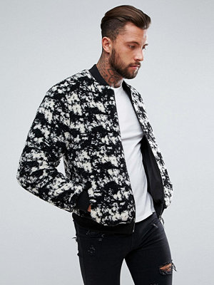 Bomberjackor - ASOS Borg Bomber Jacket in Black and White Print