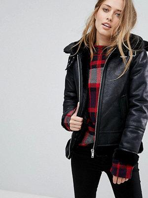 Warehouse Oversized Leather Look Hooded Aviator Jacket