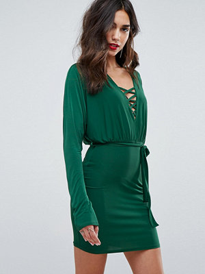 Outrageous Fortune Lace Up Tie Front Mini Bodycon Dress With Batwing Sleeve