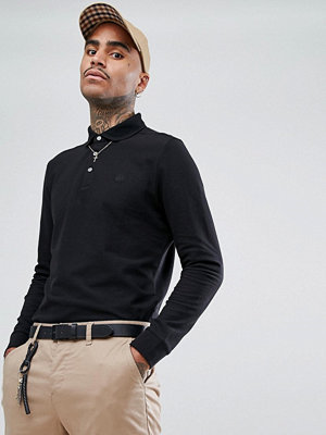 Pikétröjor - Aquascutum Hillington Long Sleeve Crest Logo Club Check Placket Polo Shirt in Black