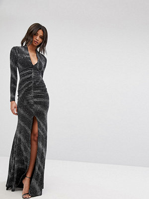 City Goddess Plunge Maxi Dress In Sheer Metallic With Thigh Split