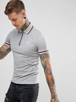 Pikétröjor - Hype Polo T-Shirt In Grey With Half Zip