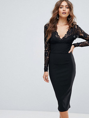 Girl In Mind Lace Long Sleeve Midi Dress