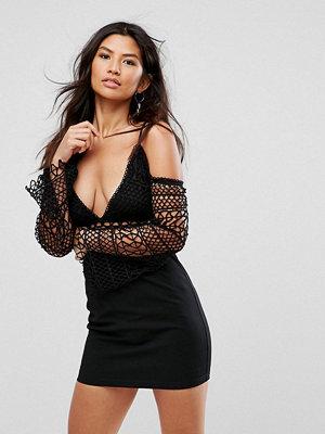 Girl In Mind Lace Cold Shoulder Mini Dress