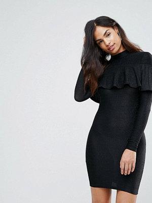 Club L High Neck Sparkle Frill Mini Dress - Black sparkle
