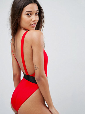 ASOS High Leg Elastic Waist Swimsuit
