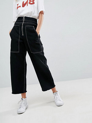 ASOS Wide Leg Utility Jeans With Big Pockets and Contract Stitch
