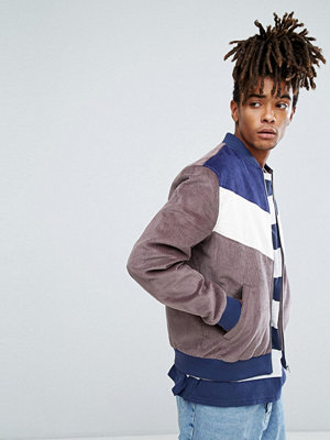 Bomberjackor - ASOS Bomber Jacket In Cord With Chevron In Charcoal