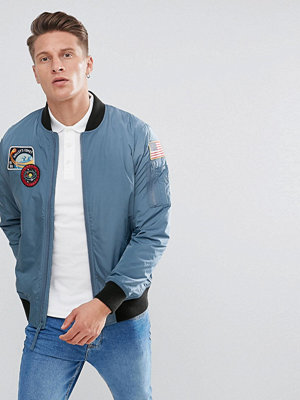 Bomberjackor - Hollister Space Bomber in Silver Blue