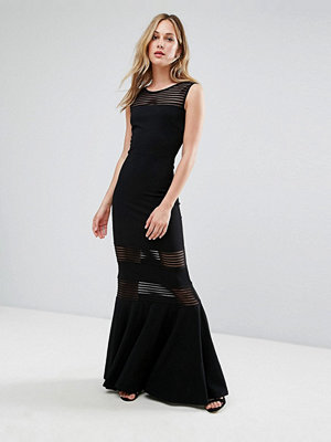 City Goddess Fishtail Maxi Dress With Mesh Inserts