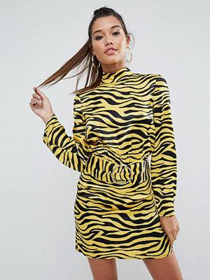 ASOS Zebra Print High Neck Belted Mini Dress