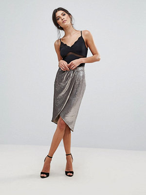 Little Mistress Sequin Wrap Front Skirt
