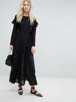 Liquorish Embroidered Star Maxi Dress With Ruffles