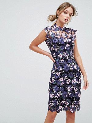 Paper Dolls High Neck Floral Crochet Lace Midi Dress