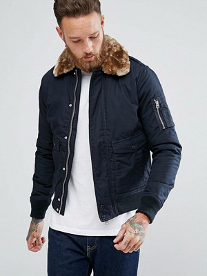 Bomberjackor - Schott Exclusive Air Bomber Jacket Detachable Faux Fur Collar Slim Fit in Navy/Beige