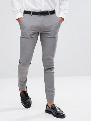 Byxor - ASOS Super Skinny Smart Trousers In Grey