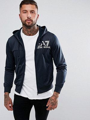 Street & luvtröjor - EA7 Mirrored Logo Hooded Zip Through Sweat In Navy