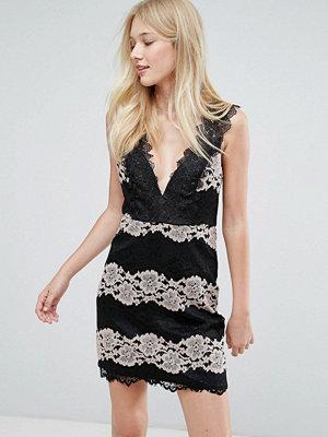 Liquorish Lace Panel Dress - Black & pink