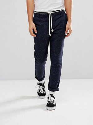 Byxor - ASOS Tapered Trousers In Navy Nepp Fabric