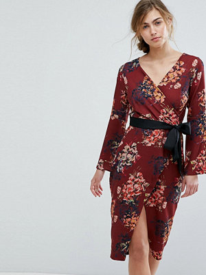 Closet London Allover Floral Wrap Pencil Dress With Belt - Brown multi
