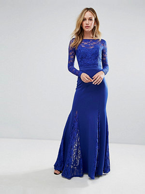 City Goddess Fishtail Maxi Dress With Lace Sleeves - Royal blue