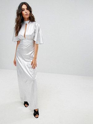 Liquorish Metallic Maxi Dress With Cut Out Front