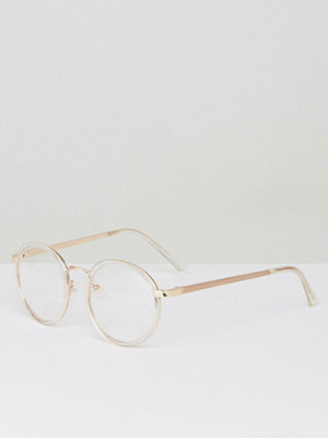 Solglasögon - YHF Lindsay Round Clear Lens Glasses In Gold