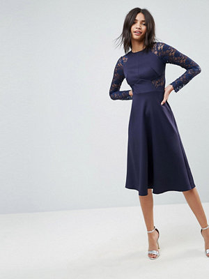 ASOS Premium Midi Scuba Skater Dress with Lace Sleeves