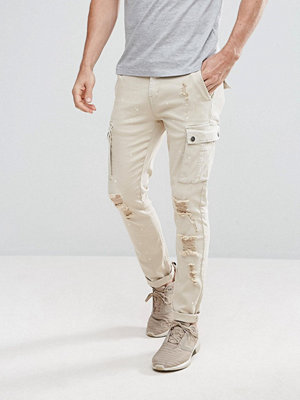 Jeans - Black Kaviar Skinny Cargo Jeans In Stone With Distressing