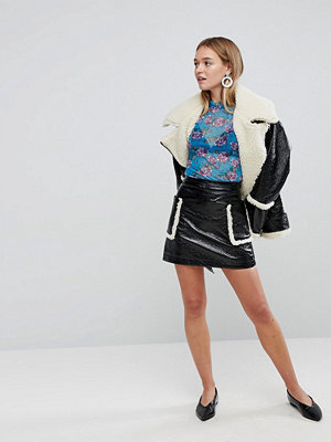 Monki Shearling Pocket Faux Leather Skirt