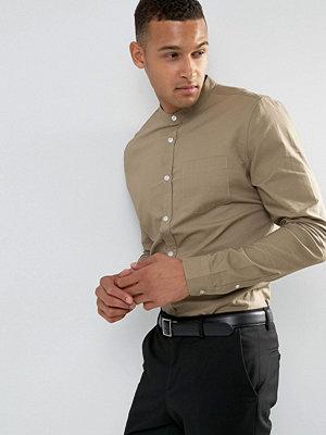 Skjortor - Threadbare Premium Cotton Grandad Slim Fit Shirt