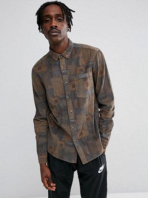 Skjortor - ASOS Regular Fit Vintage Print Cord Shirt