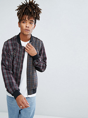 Bomberjackor - ASOS Bomber Jacket With Tartan Cut And Sew in Red