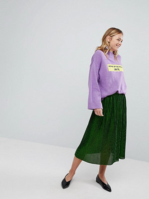 Monki Pleated Glitter Midi Skirt