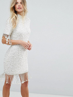ASOS Scattered Pearl Bodycon Mini Dress with Fringing