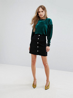 Warehouse Diamante Button Mini Skirt