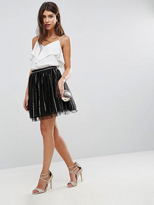 ASOS Sequin Stripe Tulle Mini Skirt with Spot Mesh Underlayer