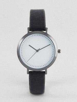 Klockor - ASOS Dark Grey Velvet Watch