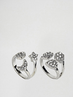 New Look 2 Pack Open Crystal Rings