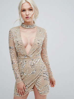 Missguided Peace + Love Silver Choker Neck Embellished Dress