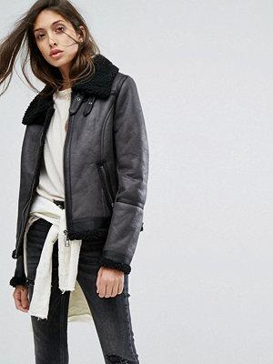 Skinnjackor - Goosecraft Leather Jacket with Faux Fur Collar
