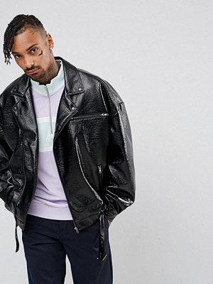 ASOS Oversized Faux Leather Biker Jacket In Black