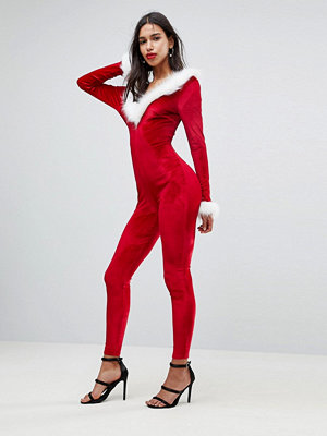 Club L Sexy Santa Christmas Catsuit With Faux Fur Trim