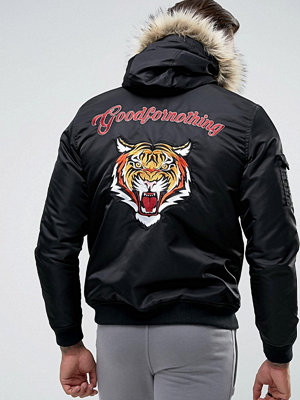 Bomberjackor - Good For Nothing Bomber Jacket In Black With Back Print And Faux Fur Hood